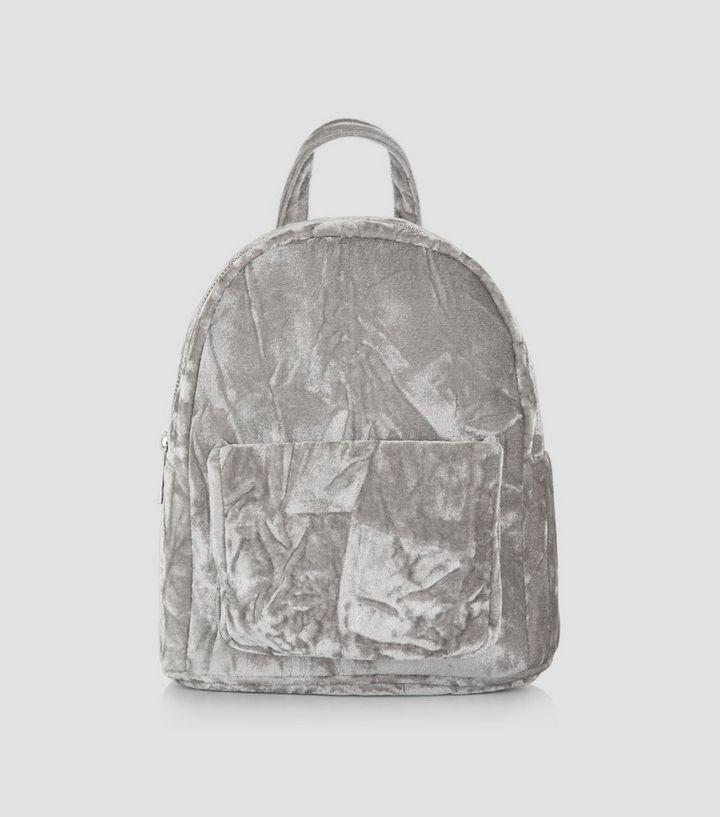 2b1bcac35f Grey Crushed Velvet Mini Backpack