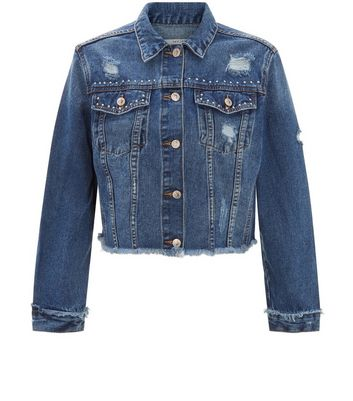Dark Blue Frayed Hem Studded Cropped Denim Jacket New Look