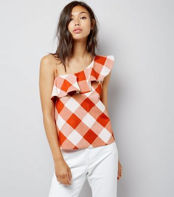Blue Vanilla Red Check Frill Trim Top New Look