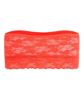 Red Lace Bandeau New Look