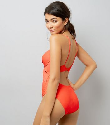 Coral Cut Out Wrap Front Swimsuit New Look
