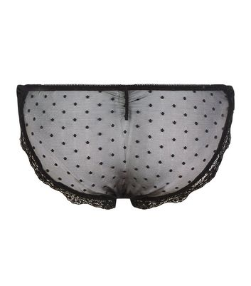 Black Spot Mesh Bow Side Brazilian Briefs New Look
