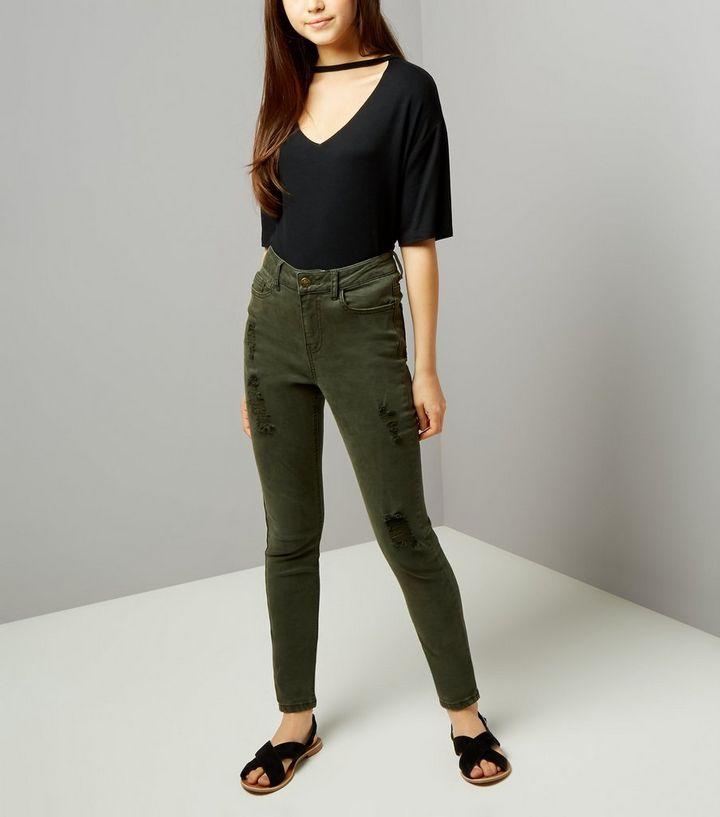 e18c65112c5 Teens Khaki Ripped Skinny Jeans | New Look