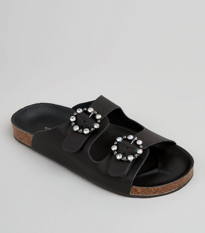 0d072e5a3 Black Diamante Ring Double Strap Footbed Sandals
