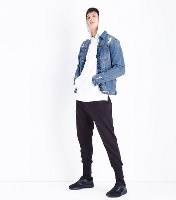Blue Ripped Zip Sleeve Denim Jacket New Look