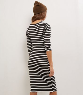 Maternity Black Stripe Ruched Side Midi Dress New Look