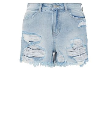 Blue Ripped Denim Mom Shorts New Look
