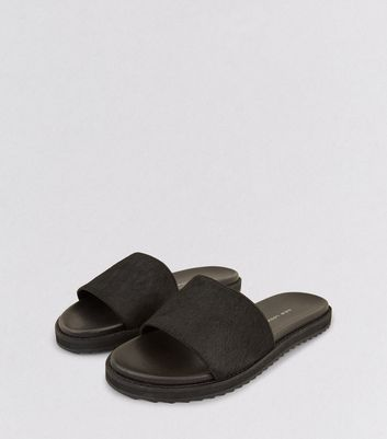 Wide Fit Black Textured Leather Sliders
