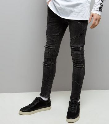 Black Washed Super Skinny Biker Jeans New Look
