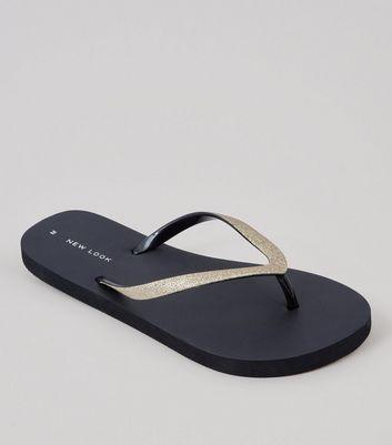 Black Glitter Strap Flip Flops | New Look