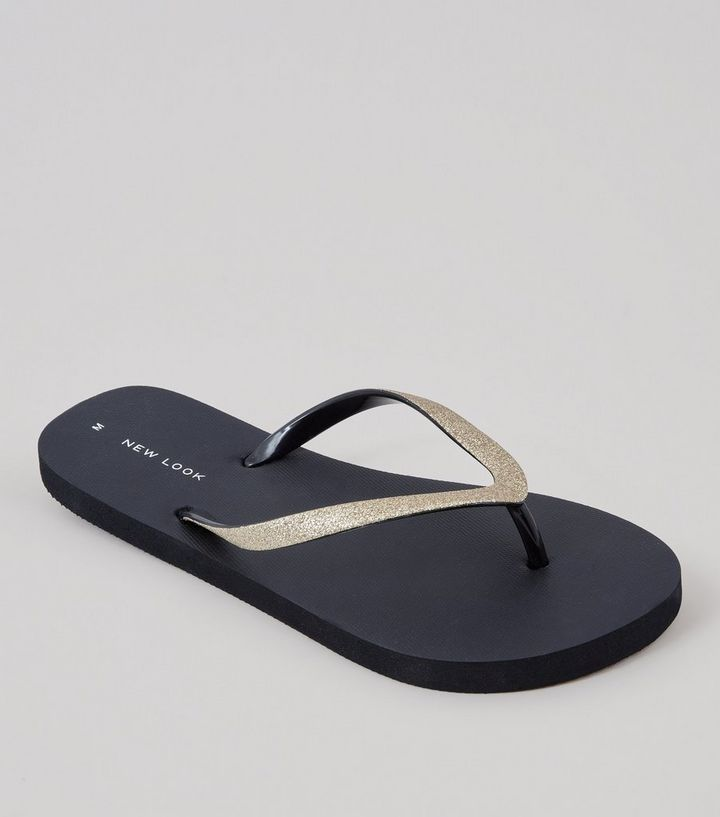 wholesale dealer 55438 be49f Black Glitter Strap Flip Flops Add to Saved Items Remove from Saved Items