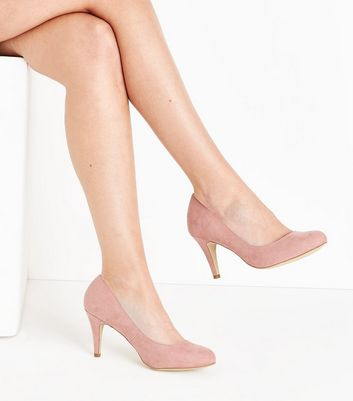 Wide Fit Pink Suedette Court Shoes New Look