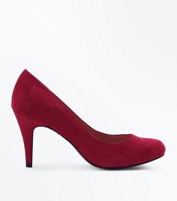 Wide Fit Deep Pink Suedette Court Shoes New Look
