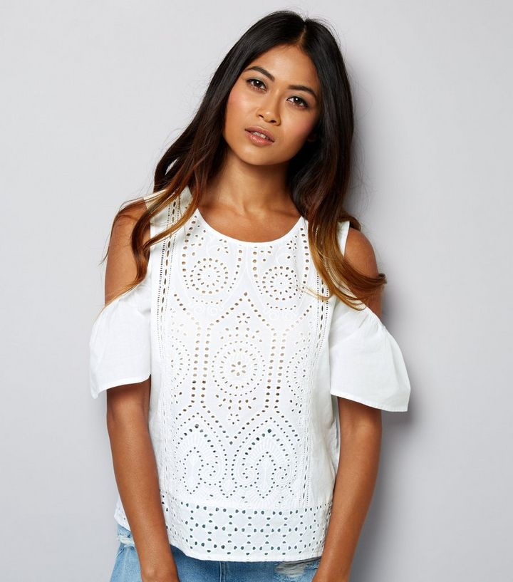 91b222db9 Petite White Cut Out Lace Cold Shoulder Top | New Look