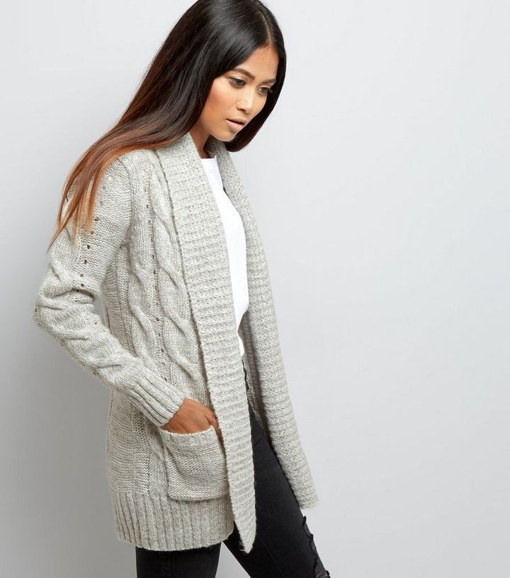 Petite Grey Cable Knit Cardigan  c97c3b04ecfe