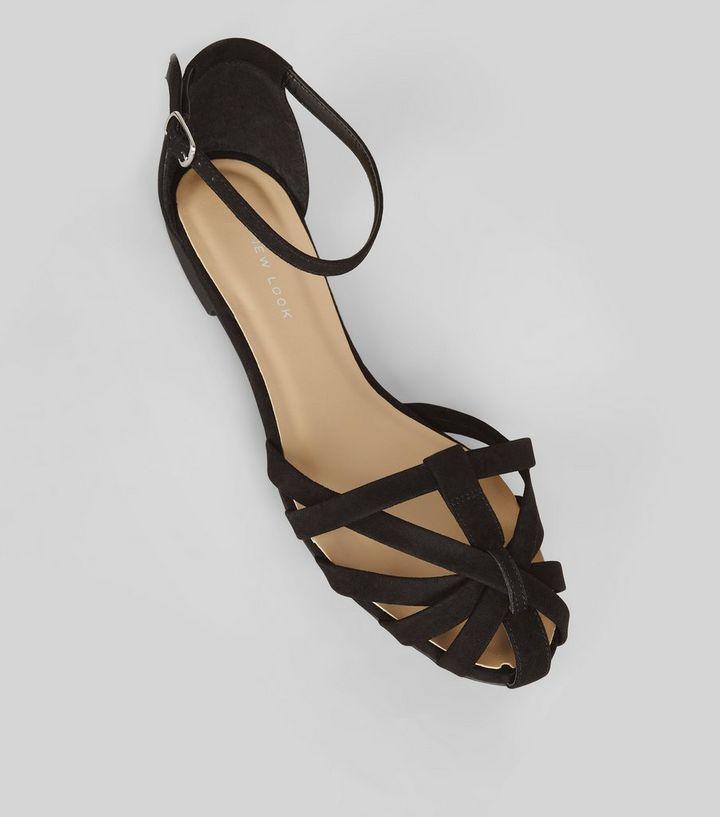 4ed033d917e3 Wide Fit Black Suedette Caged Front Sandals