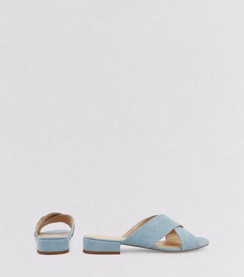 Wide Fit Blue Suedette Cross Strap Mules New Look