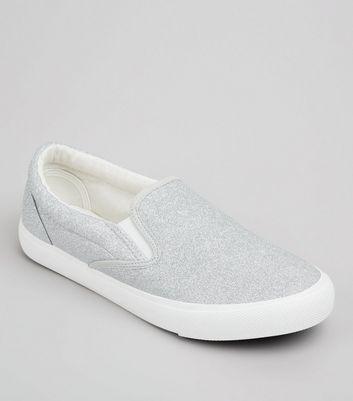 Silver Glitter Plimsolls New Look