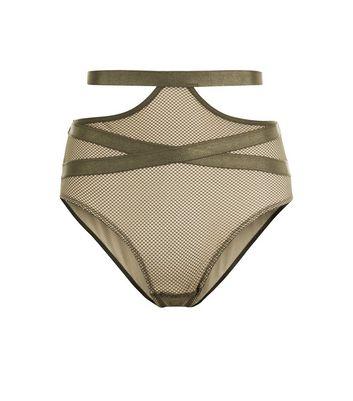 Olive Green Strappy Fishnet High Waist Briefs New Look