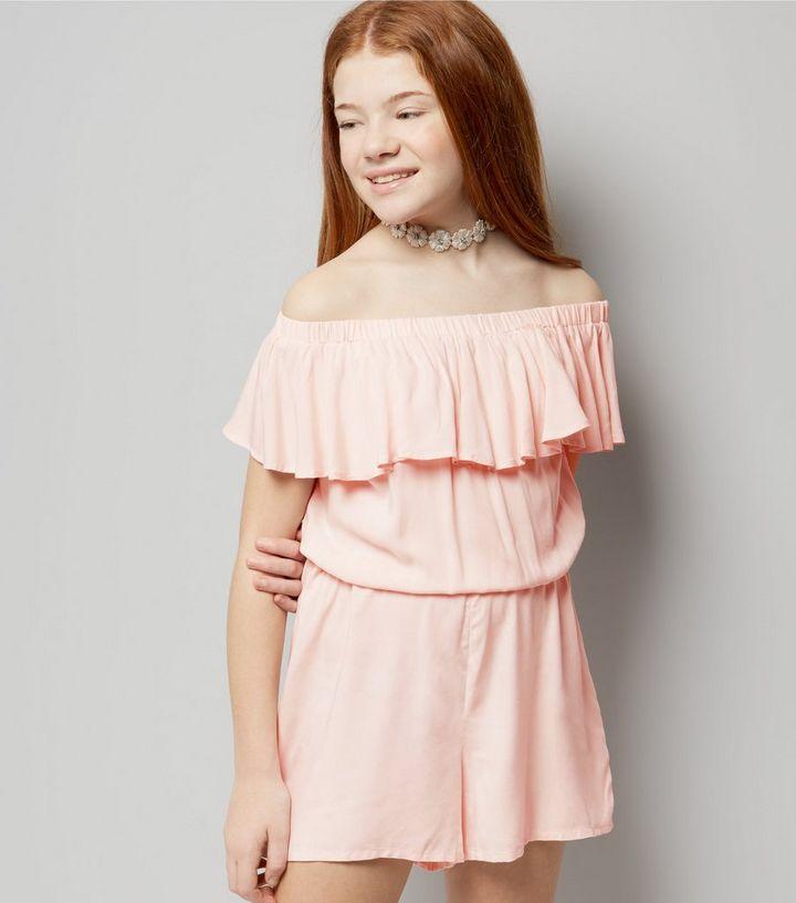 2d5c46a2b5 Teens Pink Frill Trim Bardot Playsuit