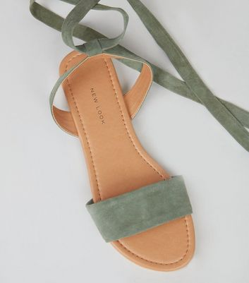 Wide Fit Khaki Leather Ankle Tie Sandals New Look