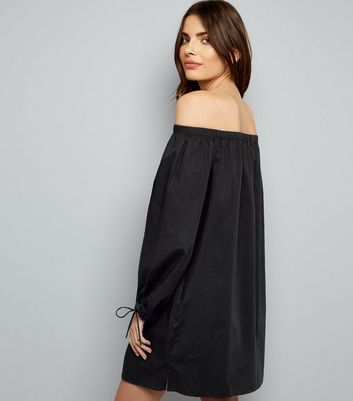 Black Button Front Bardot Neck Dress New Look