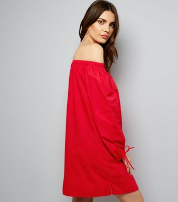 Red Button Front Bardot Neck Dress New Look