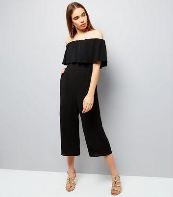 Black Frill Trim Bardot Neck Culotte Jumpsuit New Look