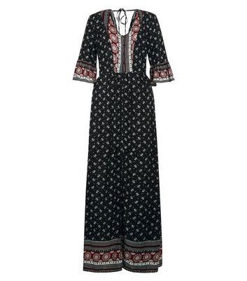 Black Floral Print Bell Sleeve Maxi Dress New Look