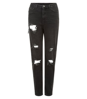 Black Ripped Acid Washed Mom Jeans New Look