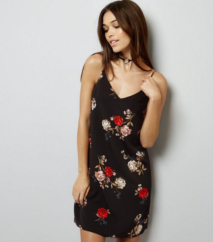 49062876cb66 Black Botanical Floral Slip Dress | New Look