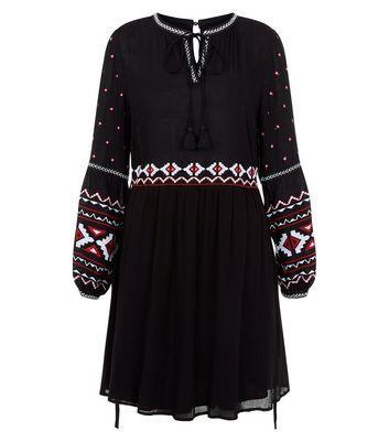 Black Embroidered Trim Smock Dress New Look