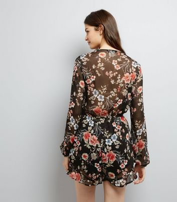 Black Floral Print Tie Waist Playsuit New Look