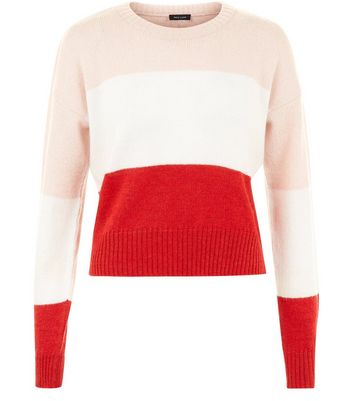 Red Block Stripe Cropped Jumper New Look