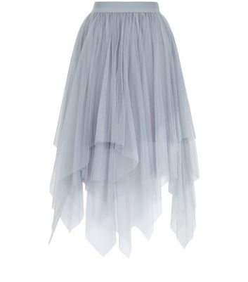 Grey Tulle Hanky Hem Midi Skirt New Look