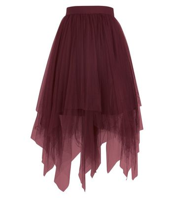 Burgundy Tulle Hanky Hem Midi Skirt New Look