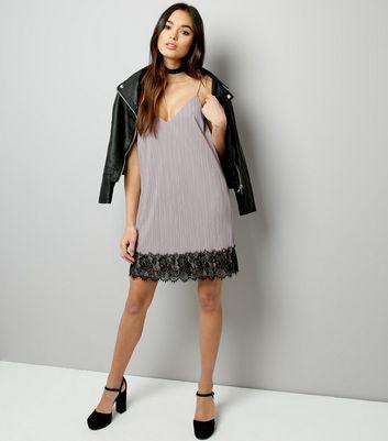 Mink Pleated Lace Hem Slip Dress New Look