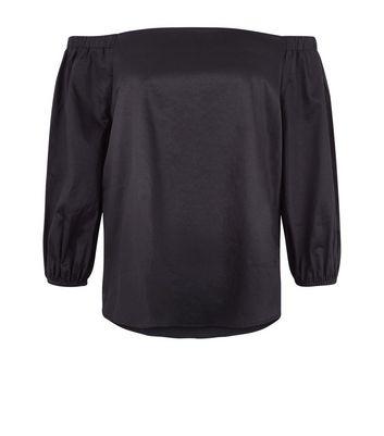 Black Bardot Neck 3/4 Sleeve Top New Look