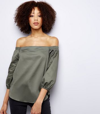 Khaki 3/4 Sleeve Bardot Neck Top New Look
