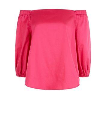 Bright Pink 3/4 Sleeve Bardot Neck Top New Look