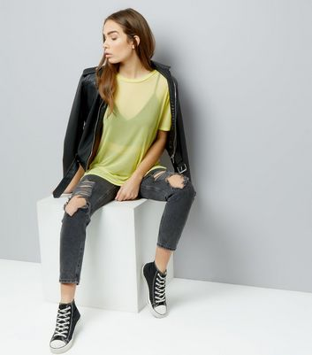 Yellow Mesh Oversized T-Shirt New Look