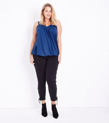 Curves Blue Bubble Hem Vest New Look