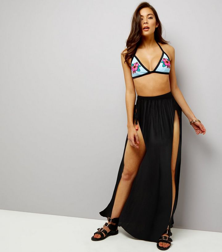 51e1a2a720 Black Side Split Wide Leg Beach Trousers | New Look