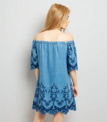 Blue Bardot Floral Embroidered Denim Dress New Look