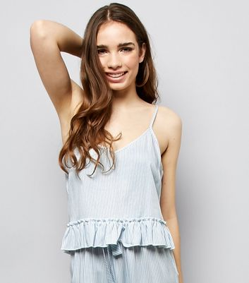 Blue Stripe Peplum Hem Pyjama Cami Top New Look