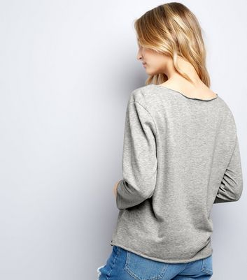 JDY Pale Grey NYC Print Sweater New Look