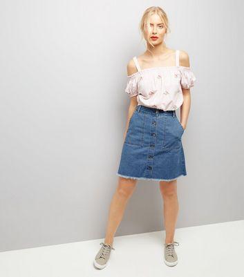JDY Blue Button Front A-Line Denim Skirt New Look