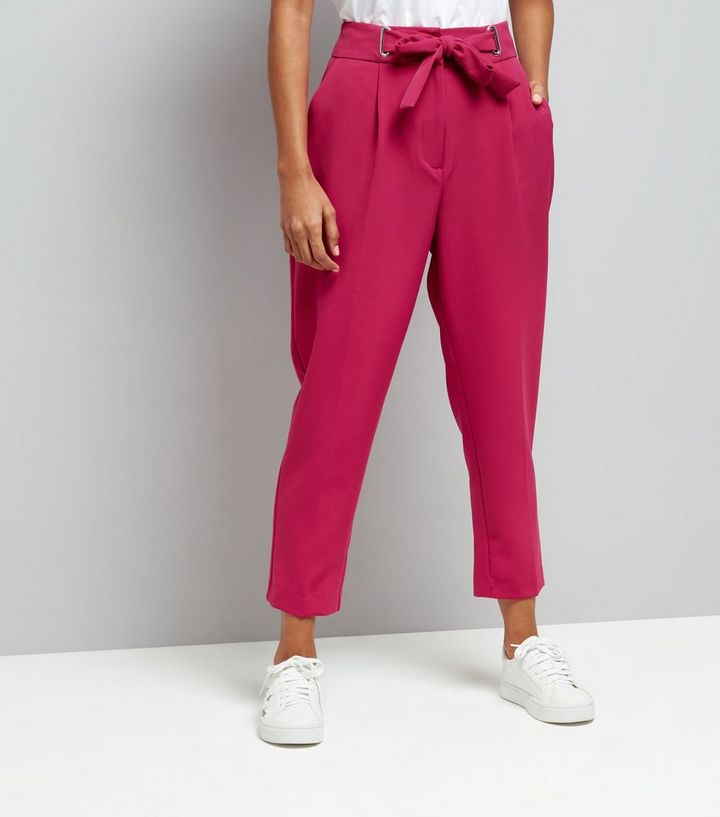 4437274a0fb8c7 Petite Bright Pink Eyelet Tie Waist Tapered Trousers   New Look