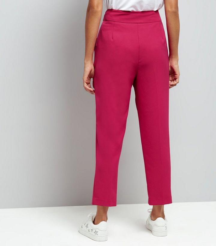 960ad5794da29c ... Petite Bright Pink Eyelet Tie Waist Tapered Trousers. ×. ×. ×. Shop the  look