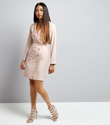 Petite Shell Pink Tuxedo Dress New Look